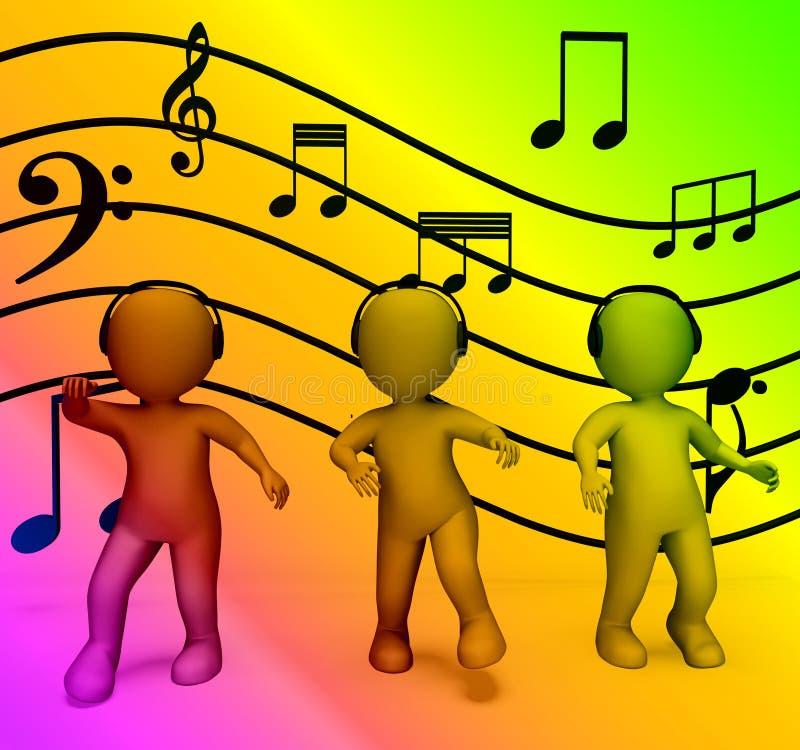 Kolorowi charaktery Słucha Muzyczna dyskoteka Z hełmofonami I ilustracji