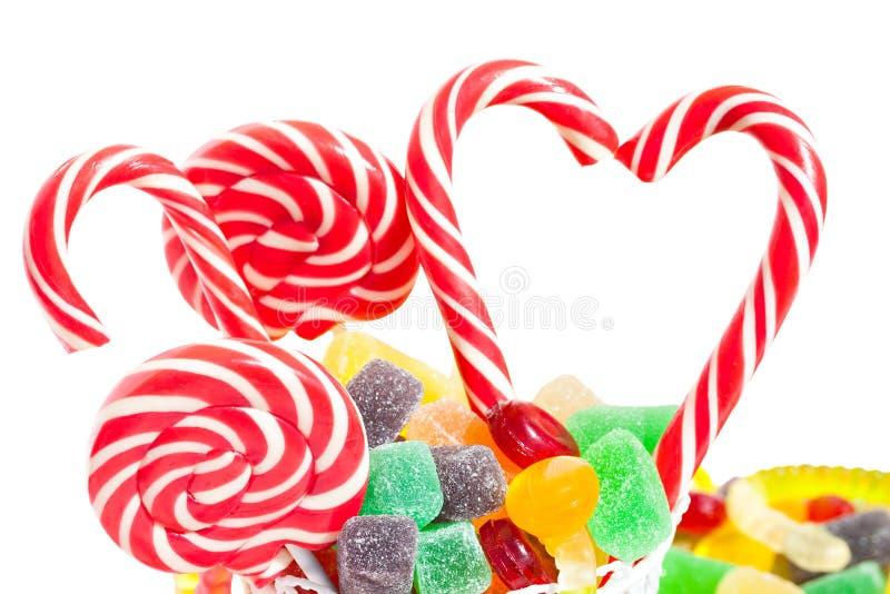 Kolorowi cukierki cukrowi cukierki odizolowywający na białym tle zdjęcie stock
