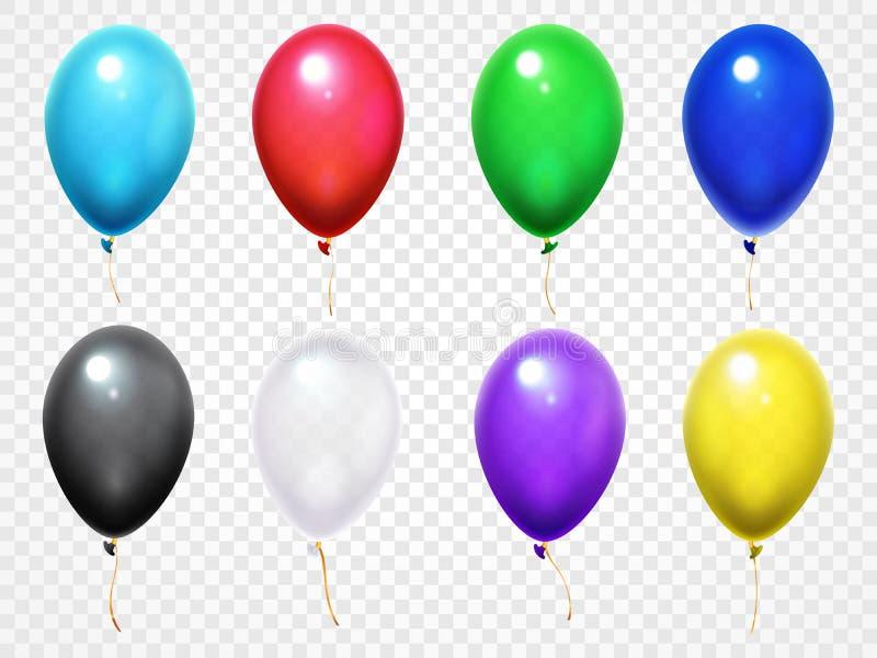 Kolorowi 3d glansowani balony Przyjęcia urodzinowego lub festiwalu latania balonu wektoru set ilustracja wektor