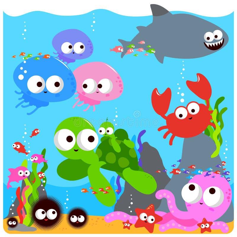 Kolorowi denni zwierzęta ilustracja wektor