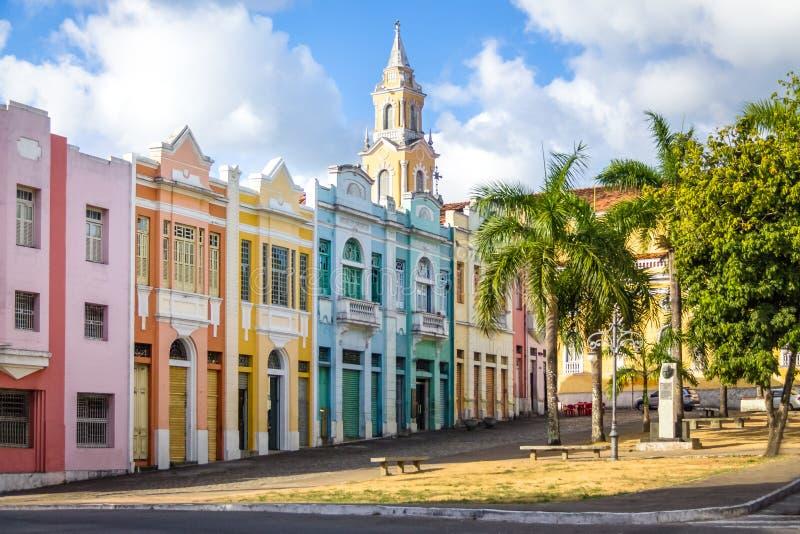 Kolorowi domy Antenor Navarro Obciosują przy historycznym centrum Joao Pessoa, Joao Pessoa -, Paraiba, Brazylia zdjęcie royalty free