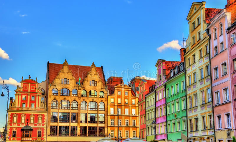 Kolorowi domy na Targowym kwadracie w Wrocławskim, Polska fotografia royalty free