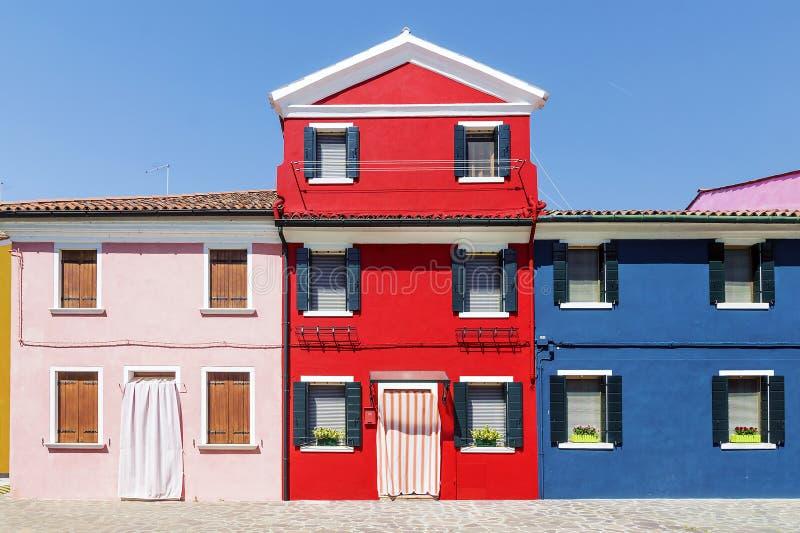 Kolorowi domy na wyspie Burano, Wenecja obraz royalty free