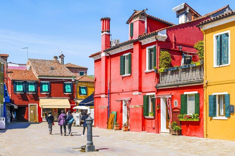 Kolorowi domy na wyspie Burano, Wenecja fotografia royalty free