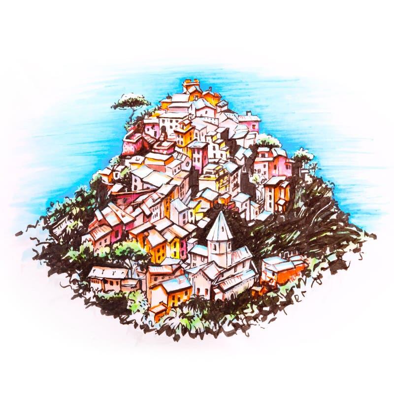 Kolorowi domy w Corniglia, Ligury, Włochy ilustracji