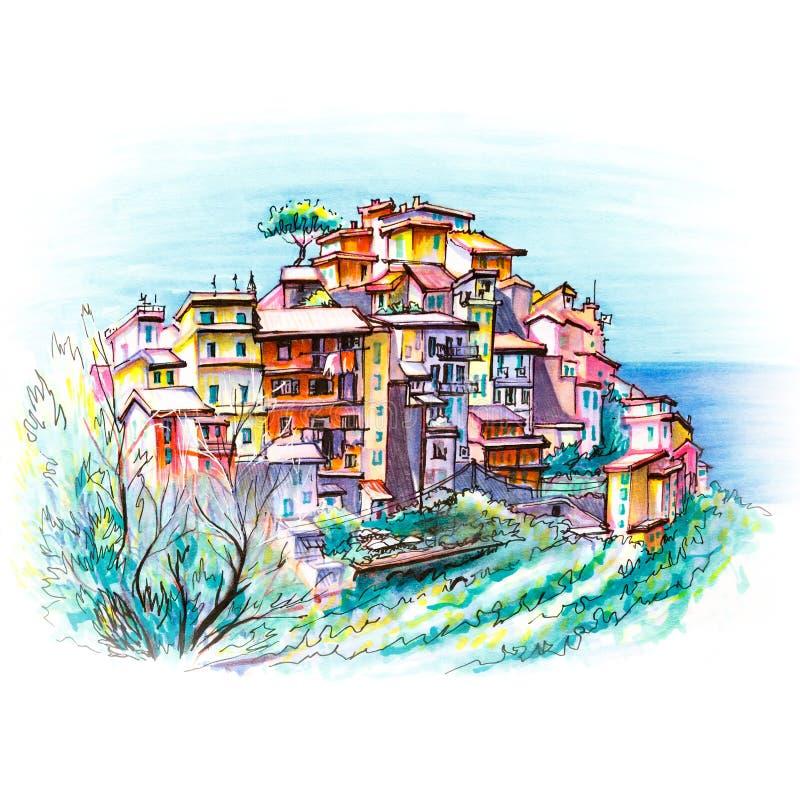 Kolorowi domy w Corniglia, Ligury, Włochy royalty ilustracja