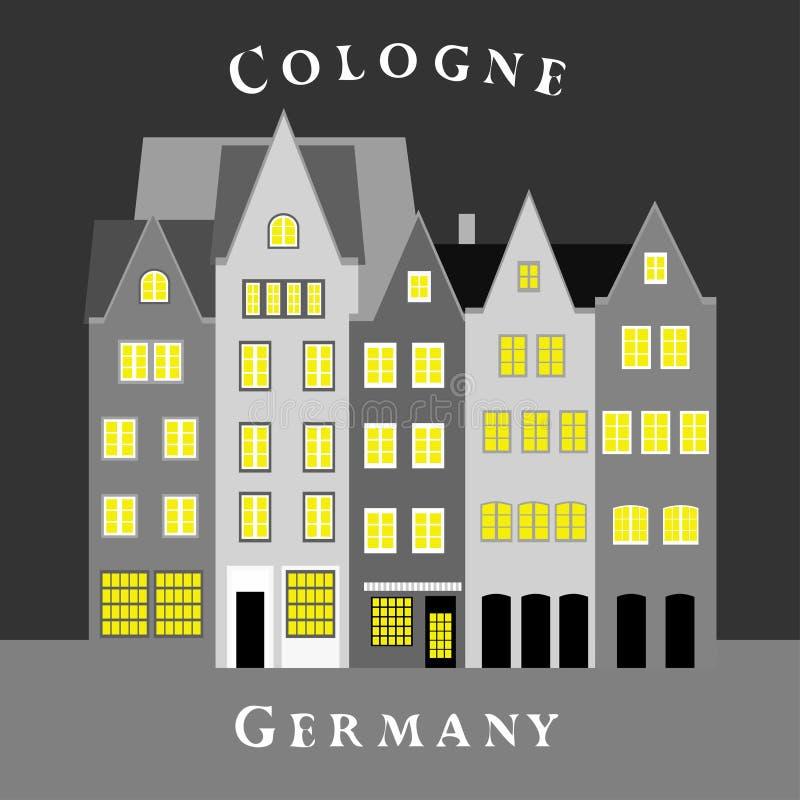 Kolorowi domy w Starym miasteczku cologne Germany ilustracji