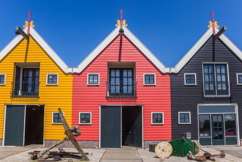 Kolorowi domy Zoutkamp obrazy royalty free