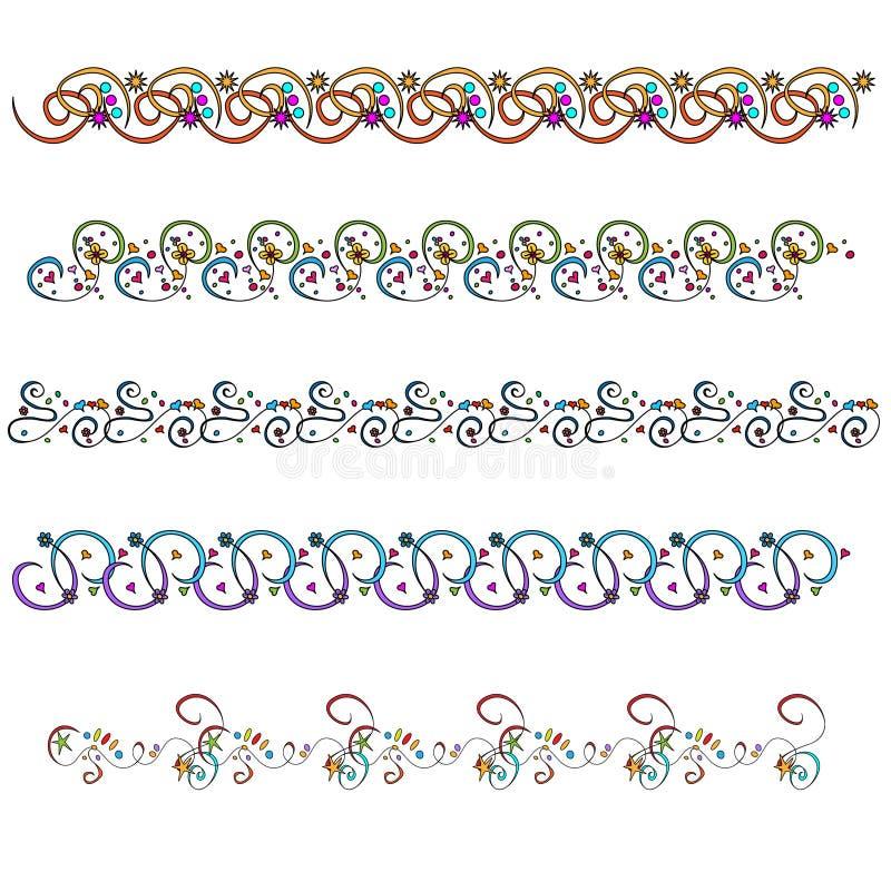 kolorowi doodle ornamentu podstrzyżenia ilustracja wektor