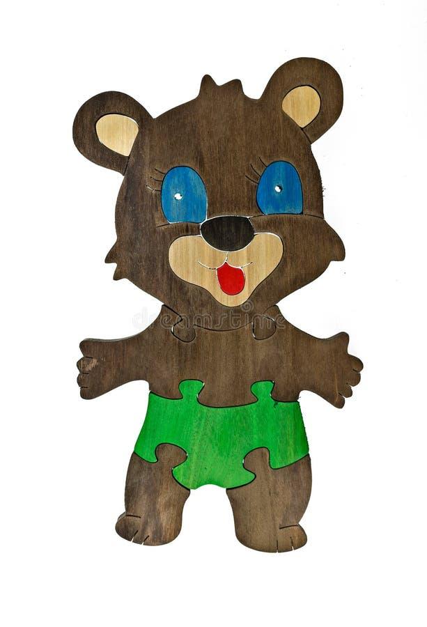 Kolorowi drewniani łamigłówka kawałki w niedźwiedziu i drzewnym kształcie royalty ilustracja