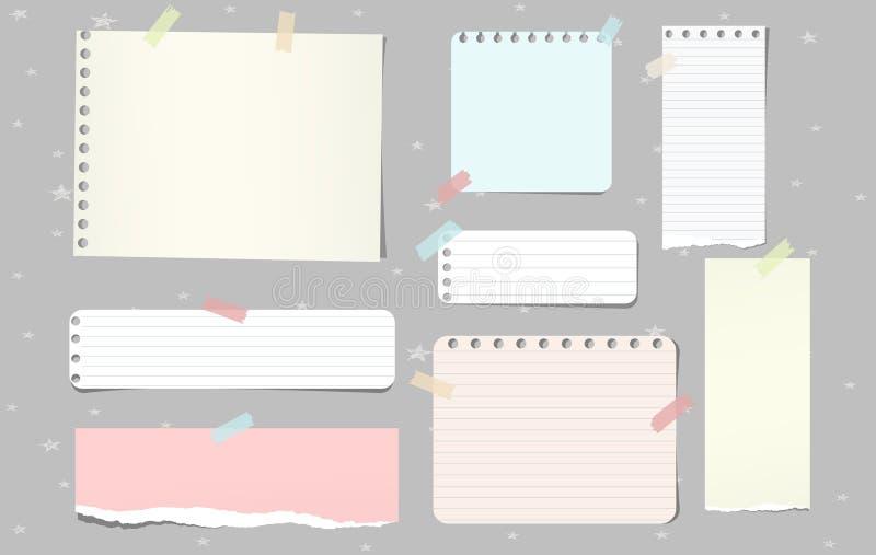 Kolorowi drzejący nutowego papieru kawałki, notatnik ciąć na arkusze dla teksta wtykającego na popielatym tle również zwrócić cor ilustracja wektor