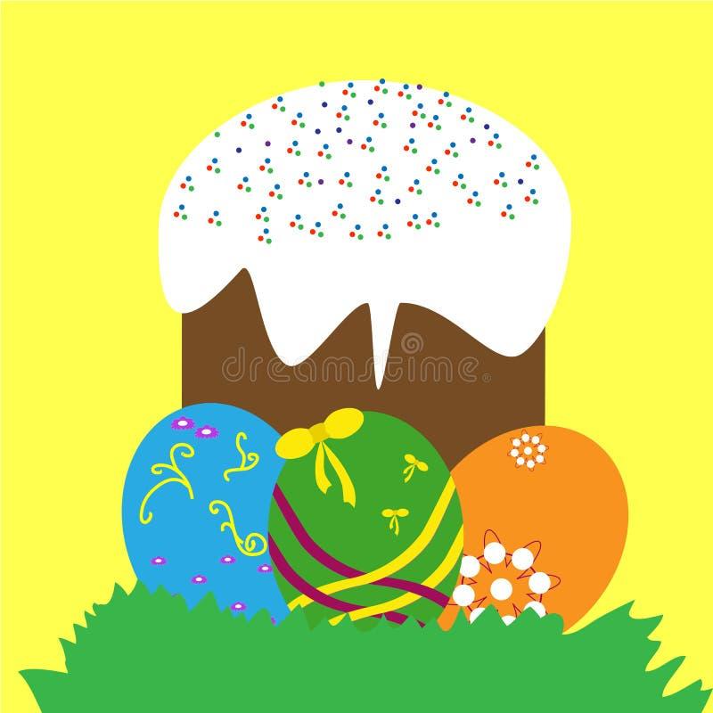 Kolorowi Easter jajka, tort i zdjęcie royalty free
