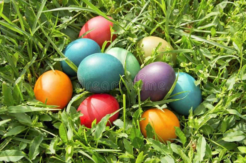 Kolorowi Easter jajka w zielonej trawie. fotografia stock