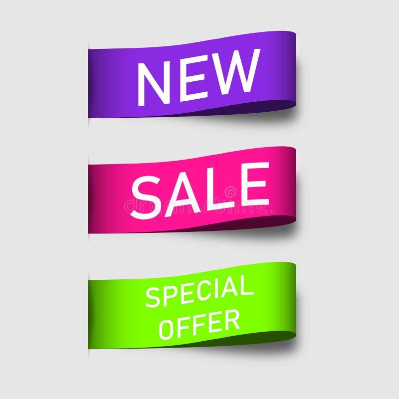 Kolorowi etykietka faborków sztandary Nowy, sprzedaży, oferty specjalnej etykietko i etykietko, lub Set kolorowi etykietka fabork ilustracji