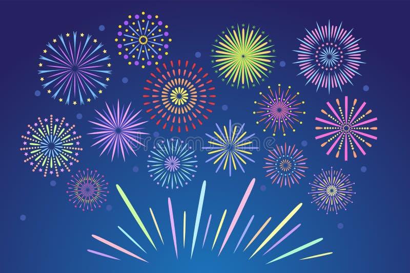 Kolorowi fajerwerki Świętowanie pożarniczy fajerwerk, boże narodzenie pirotechnika petarda dla zimy przyjęcia festiwalu urodziny  royalty ilustracja
