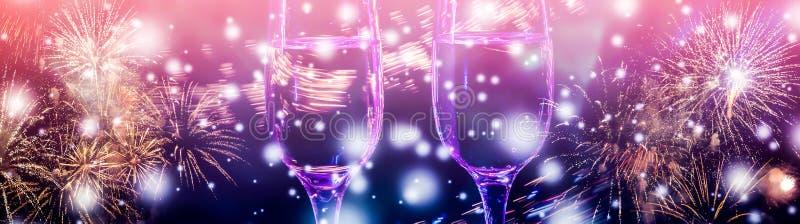 Kolorowi fajerwerki i dwa szkła wino fizz szampana ilustracja wektor