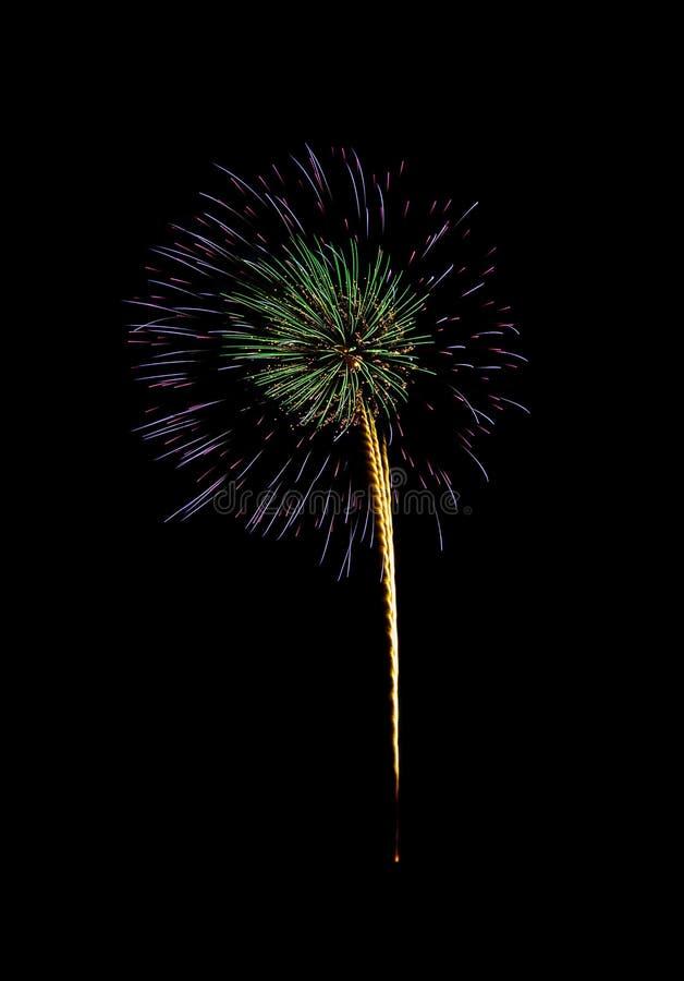 Kolorowi fajerwerki na czarnym tle fotografia royalty free