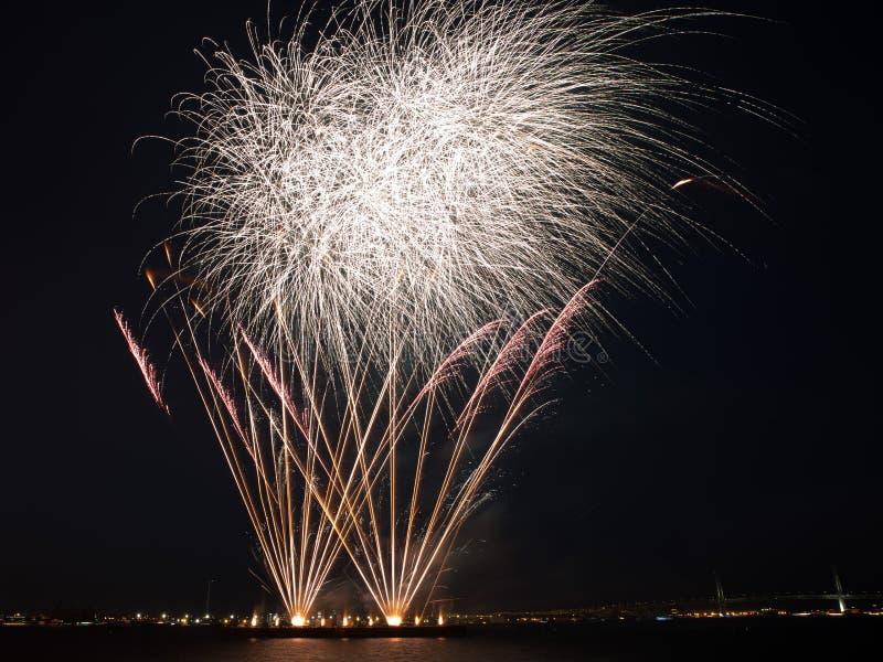 Kolorowi fajerwerki pękają w nocnym niebie z lekkimi śladami zdjęcie royalty free