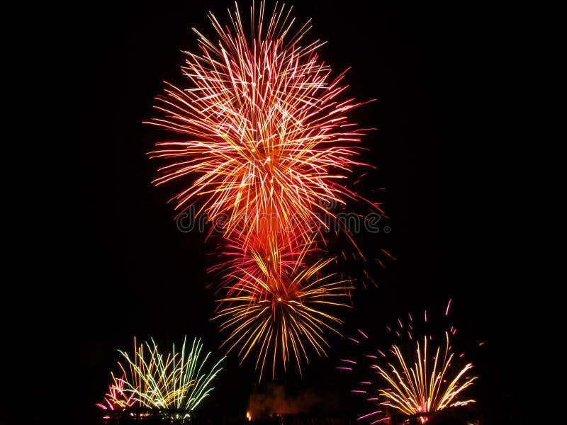 Kolorowi fajerwerki różnorodni kolory zaświecają up nocne niebo obrazy stock