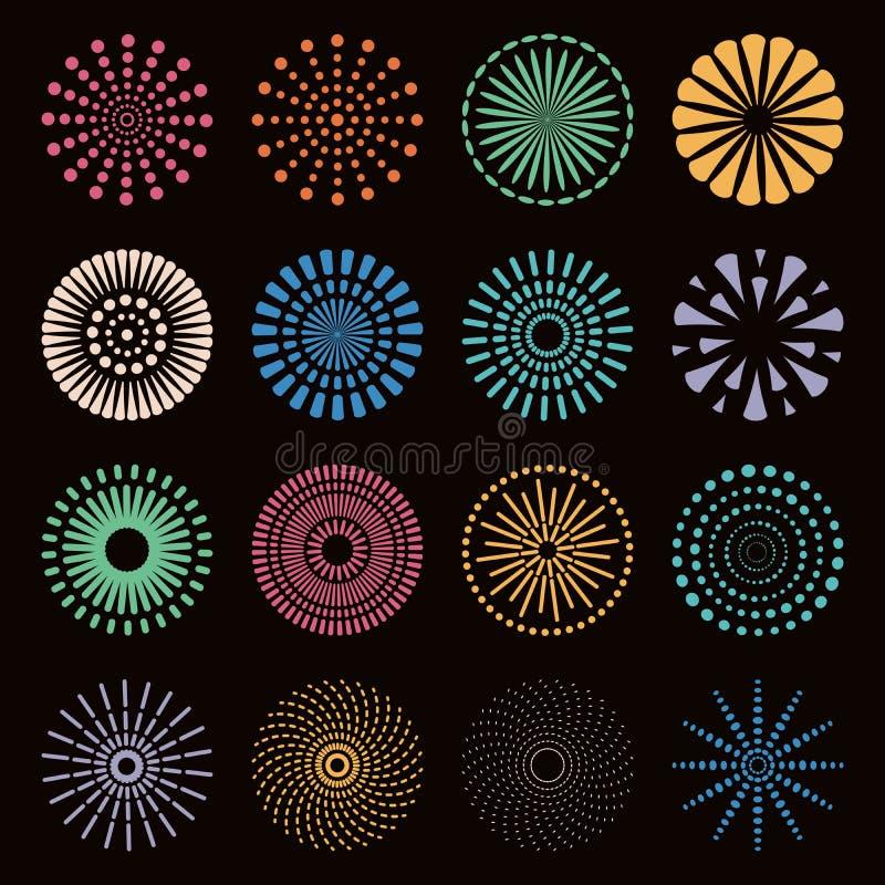 Kolorowi fajerwerki ustawiający royalty ilustracja