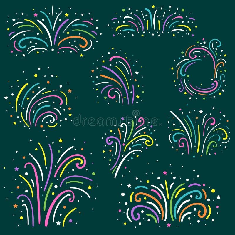 Kolorowi fajerwerki ustawiający Wakacje i przyjęcia fajerwerku ikony inkasowe również zwrócić corel ilustracji wektora ilustracja wektor