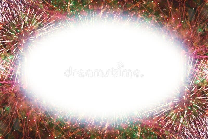 Kolorowi fajerwerki z białą owalną jarzy się krawędzi kopii przestrzenią zdjęcie royalty free
