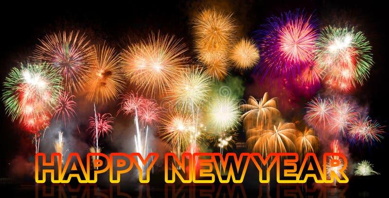 Kolorowi fajerwerki z Szczęśliwym nowym rokiem obrazy stock