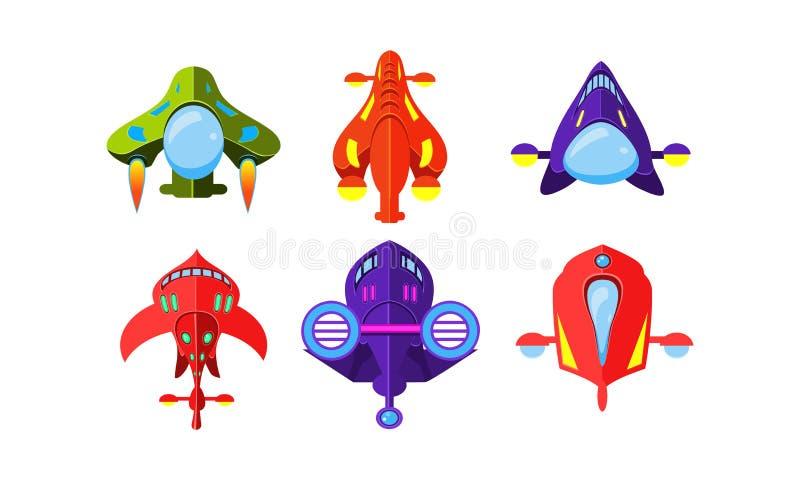 Kolorowi fantazja samoloty ustawiają, samoloty, statki kosmiczni, wartości dla interfejsu użytkownika GUI dla mobilnych apps lub  royalty ilustracja