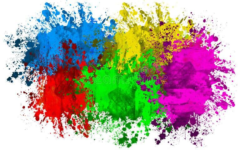 kolorowi farb splatters ilustracja wektor