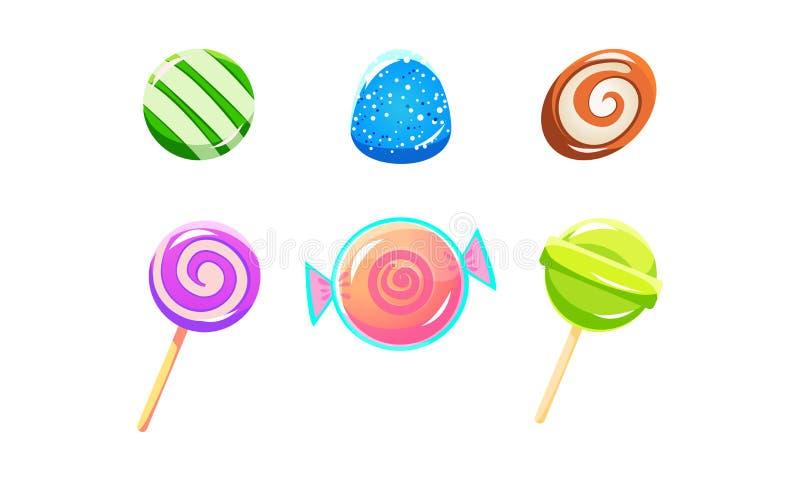 Kolorowi glansowani cukierki i lizaki ustawiają, cukierki różni kształty, interfejs użytkownika wartości dla mobilnych apps lub w ilustracji