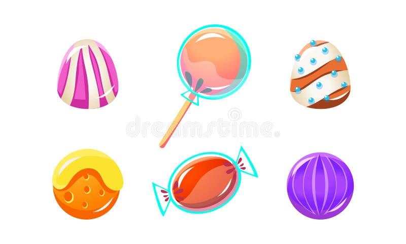 Kolorowi glansowani cukierki ustawiają, cukierki różni kształty, interfejs użytkownika wartości dla mobilnych apps lub wideo gry  ilustracji