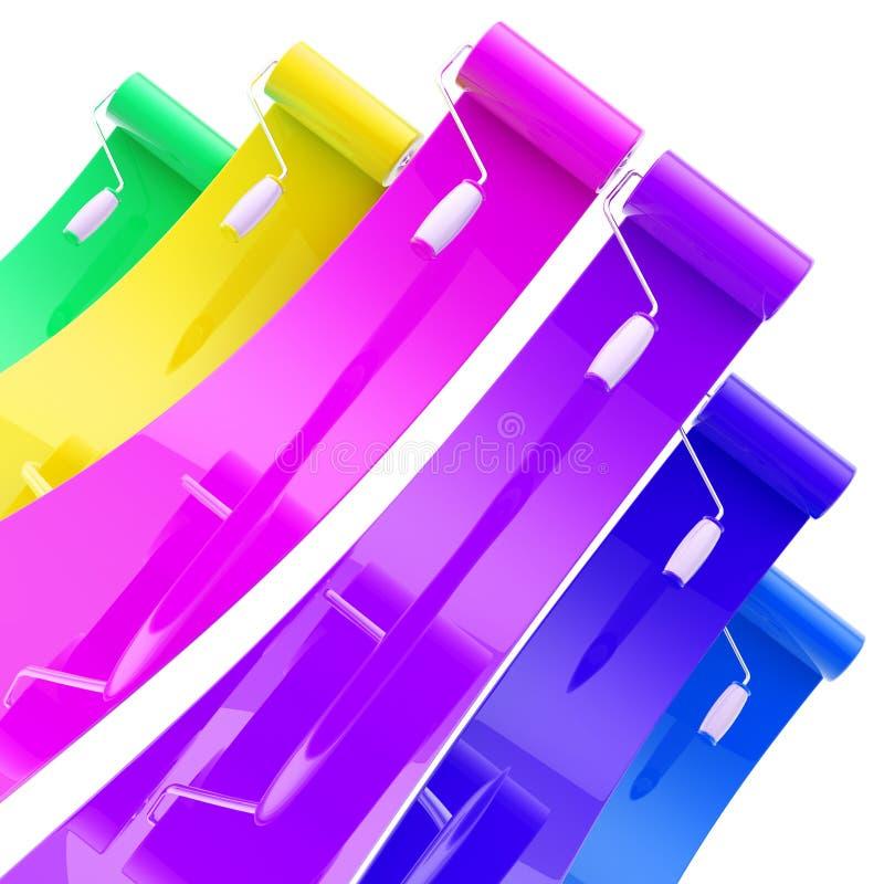 Kolorowi glansowani farba rolowniki z kolorów uderzeniami ilustracji