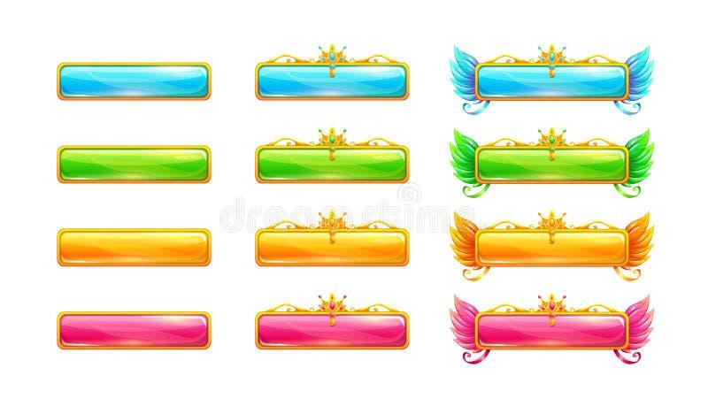Kolorowi glansowani sztandary dla gry lub sieć projekta ilustracja wektor