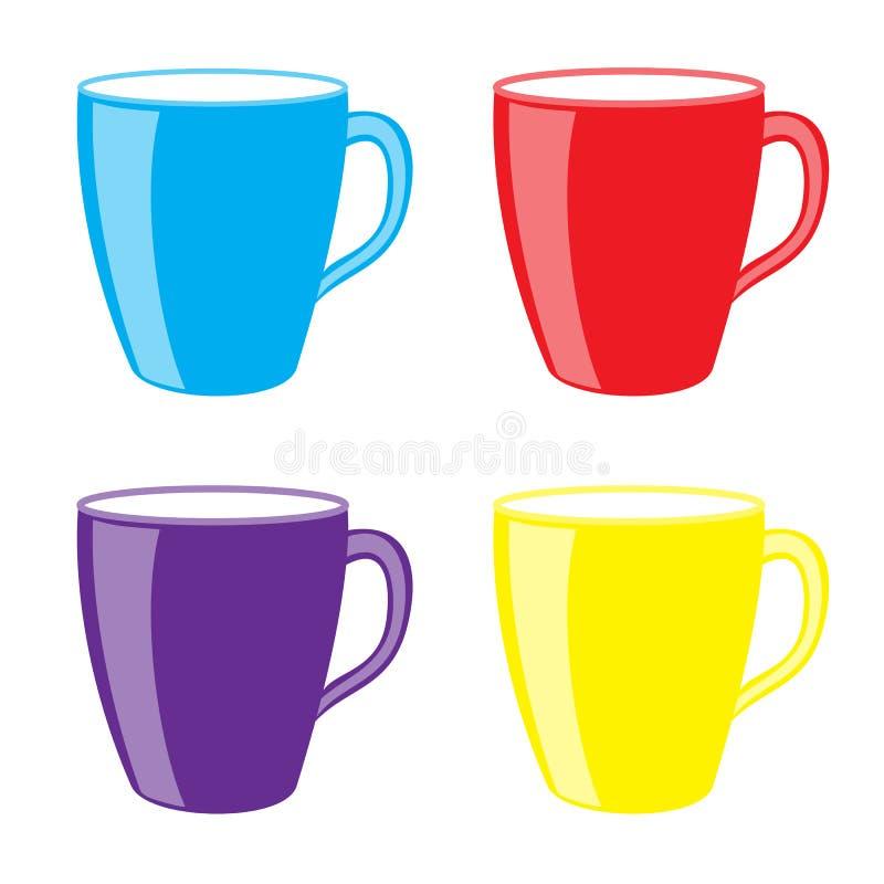 Kolorowi gorący napojów kubki royalty ilustracja