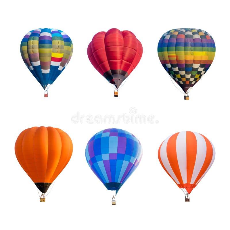 Kolorowi gorące powietrze balony odizolowywający na białym tle obrazy royalty free