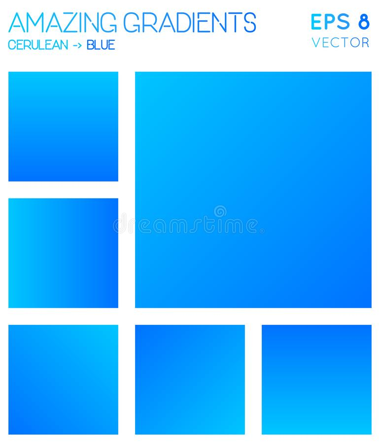Kolorowi gradienty w cerulean, błękitny kolor tonują ilustracja wektor