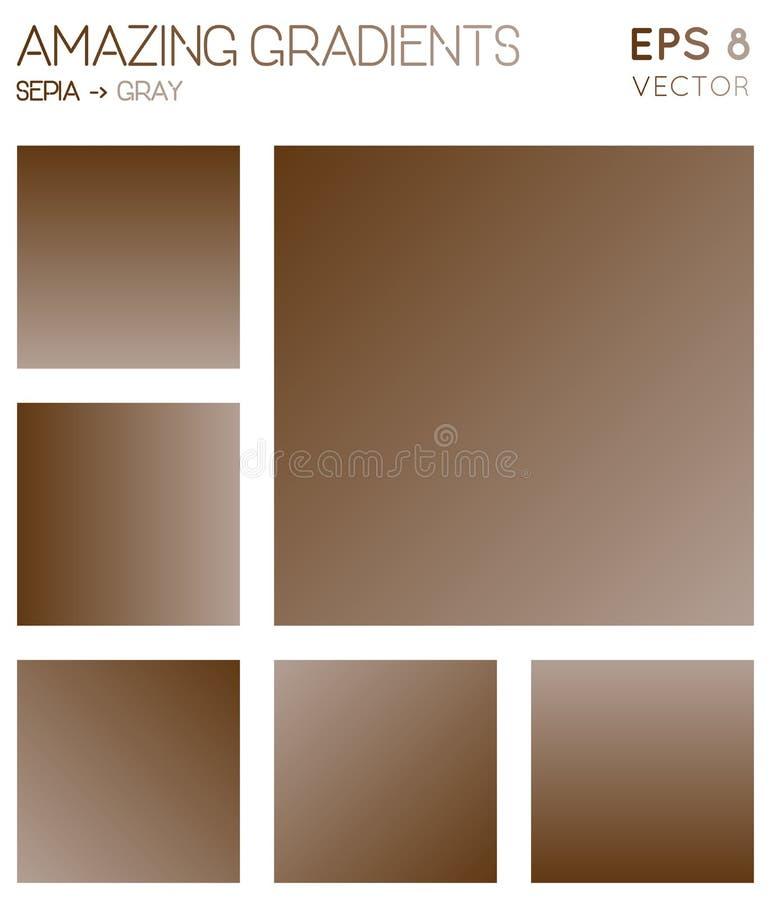 Kolorowi gradienty w sepiowym, szarość barwią brzmienia royalty ilustracja