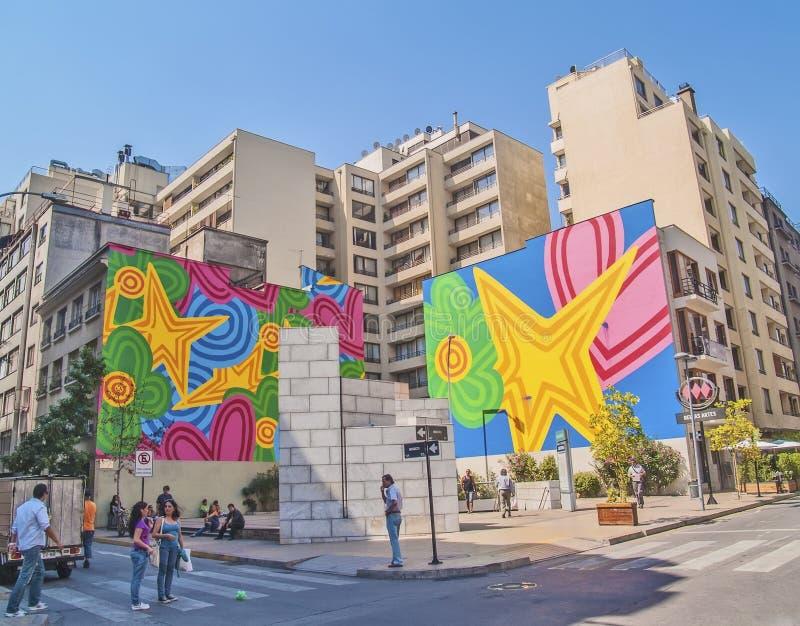 Kolorowi graffiti w Santiago zdjęcia stock