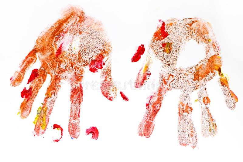 Kolorowi handprints handpainted dziećmi odizolowywającymi na bielu zdjęcie stock