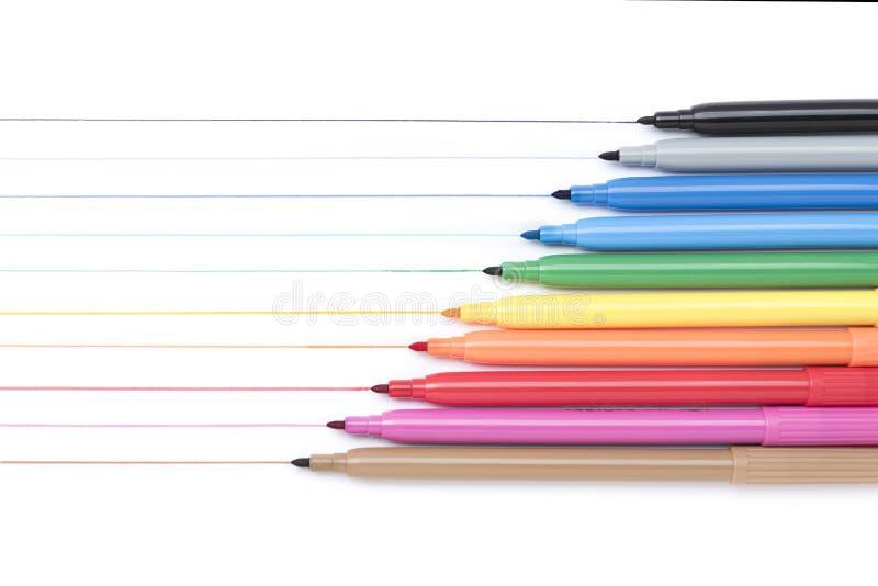 Kolorowi handwriting markiery na białym tle obraz stock