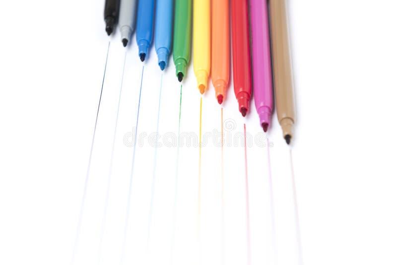 Kolorowi handwriting markiery na białym tle zdjęcia stock