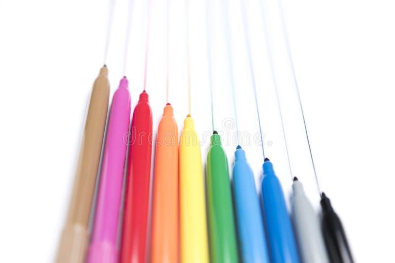 Kolorowi handwriting markiery na białym tle zdjęcie stock