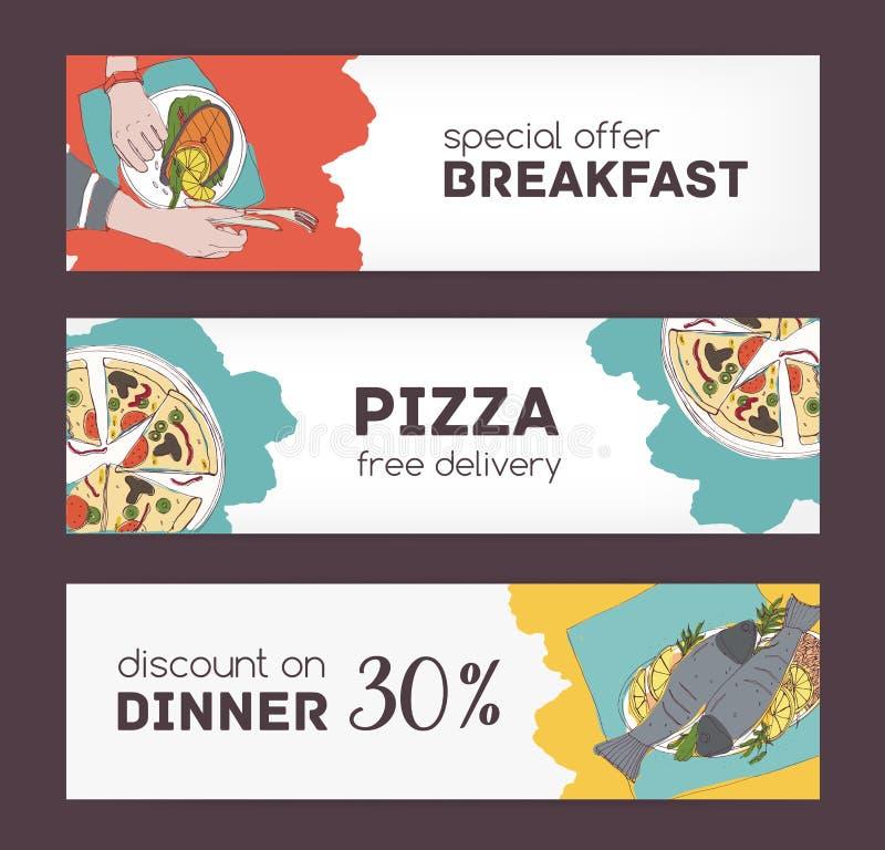 Kolorowi horyzontalni sztandarów szablony z ręki rysującymi nakreśleniami wyśmienicie jedzenie i różnorodni apetyczni naczynia sp ilustracji