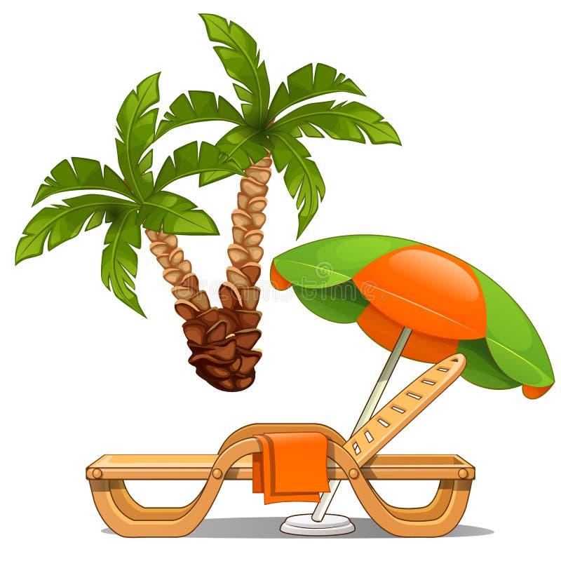 Kolorowi i Bananowy drzewko palmowe odizolowywający na białym tle wektor royalty ilustracja