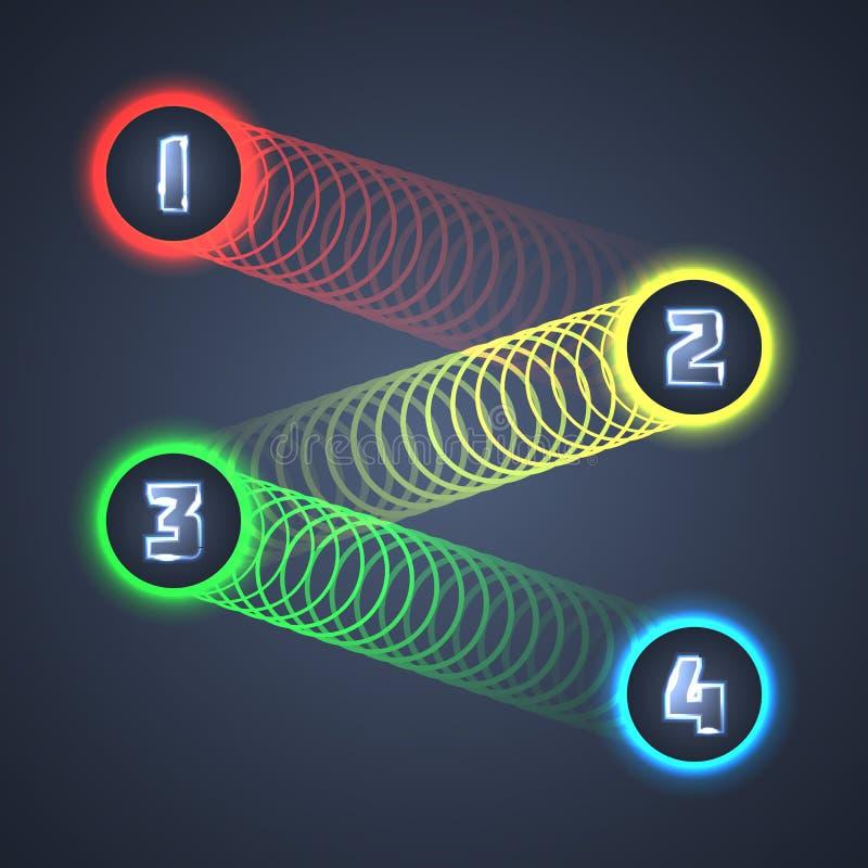 Kolorowi Iluminujący Błyszczący Infographic elementy. ilustracja wektor