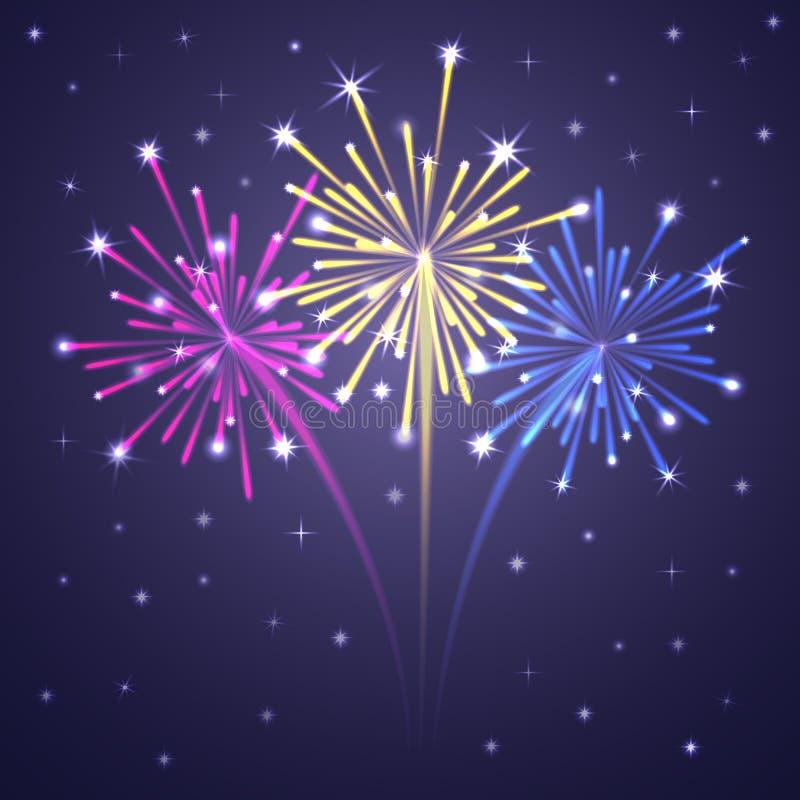 Kolorowi Iluminujący fajerwerki. ilustracja wektor
