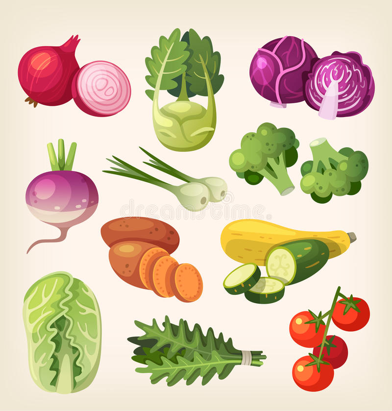 kolorowi ilustracyjni setu wektoru warzywa ilustracja wektor