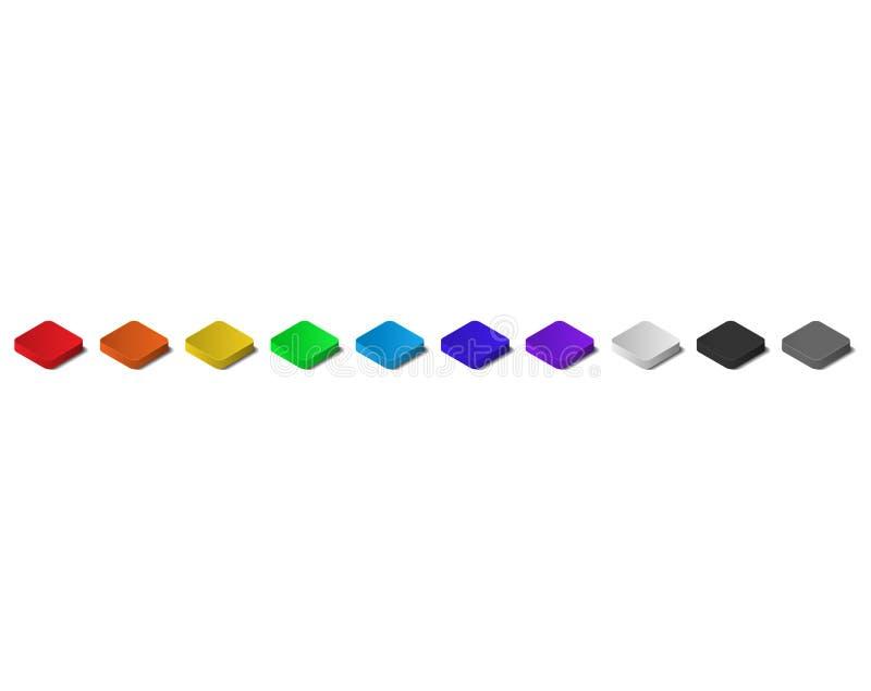 Kolorowi Isometric wierzchołka 3D guziki z cieniem ilustracja wektor
