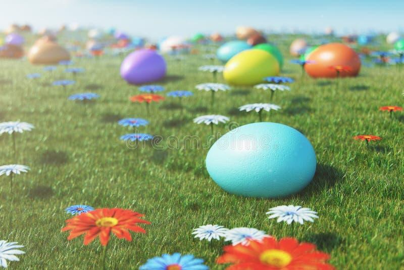 Kolorowi jajka w ??ce na s?onecznym dniu z pi?knymi kwiatami, Stubarwni maluj?cy Easter jajka na trawie, gazon royalty ilustracja