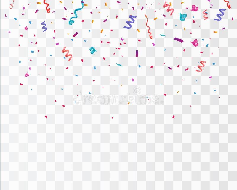 Kolorowi jaskrawi confetti odizolowywający na przejrzystym tle świąteczna wektorowa ilustracja zdjęcie stock